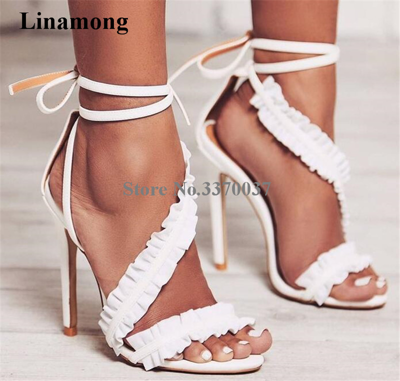 Women Beautiful Flounce Lace Suede Leather Gladiator Sandals Ankle Straps Lace-up High Heel Sandals White Pink Dress Shoes flounce embellished sheer lace teddy