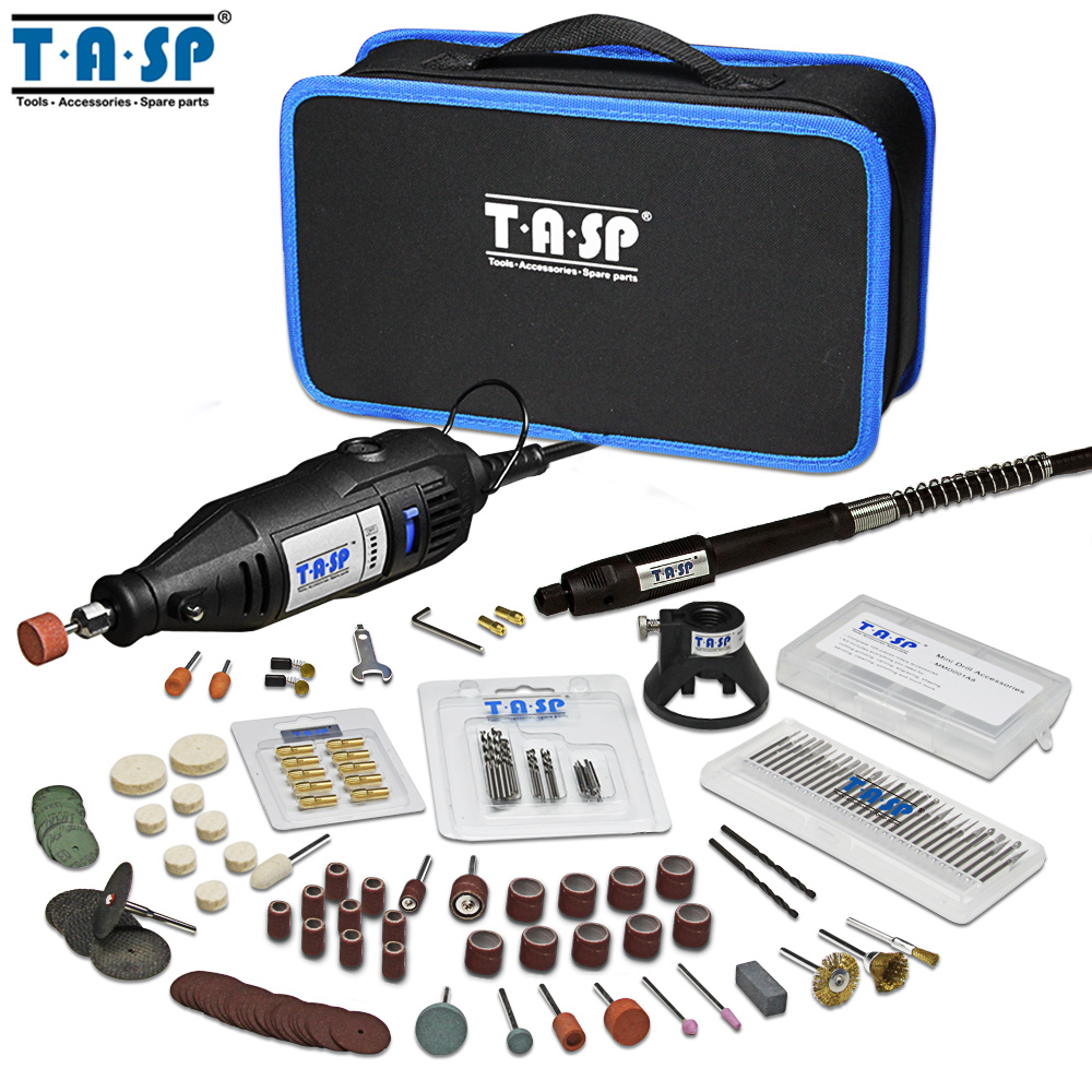 TASP 230V 130W Rotary Tool Set Electric Mini Drill Engraver Kit With Dremel Accessories Power Tools For Craft Projects