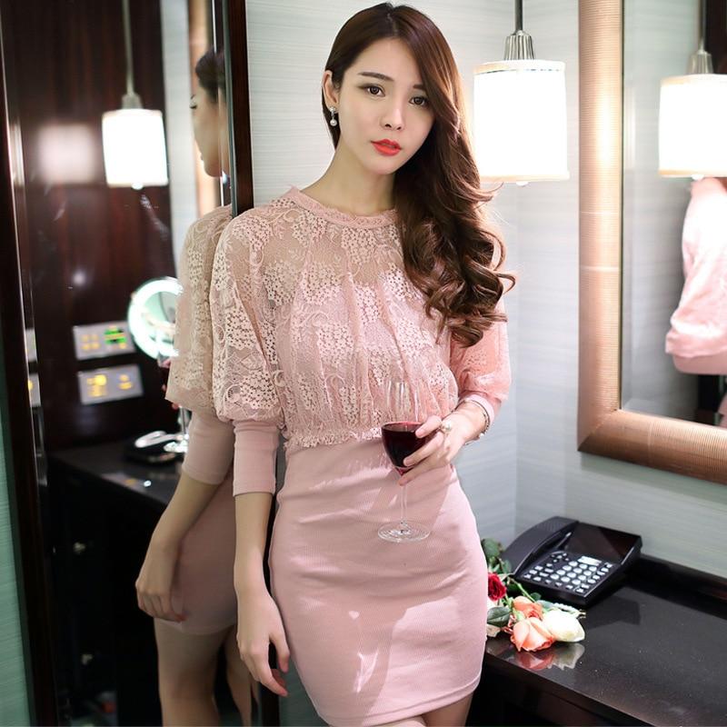 Autumn Maxi Women Bandage Office Party Sexy Bodycon Pink Lace Dress Vestidos De Festa Dresses Plus Size 2016 Longo Robe Femme
