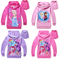 New Cotton Girls Clothes Princess Snow Queen Long Sleeve Children Hoodies Cartoon Kids Clothing Sweatshirts 2-7 Age Girl Pink