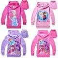 Nuevas muchachas del algodón ropa princess snow queen niños clothing sudaderas de manga larga niños hoodies de la historieta 2-7 años de edad chica rosa