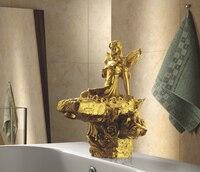 EMS (DHL Бесплатная доставка Золотая отделка ванная раковина красота кран Золотой clour раковина кран Художественный смеситель для раковины рос