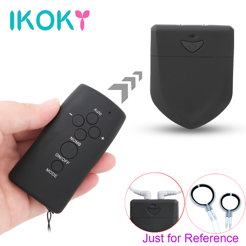 IKOKY Electric Shock Host Remote Control Medical Themed Toys Clitoris Nipple Stimulator Double Output Electro Stimulation ikoky clitoris stimulator electro stimulation sex toys for women electric shock medical themed toys glass stick
