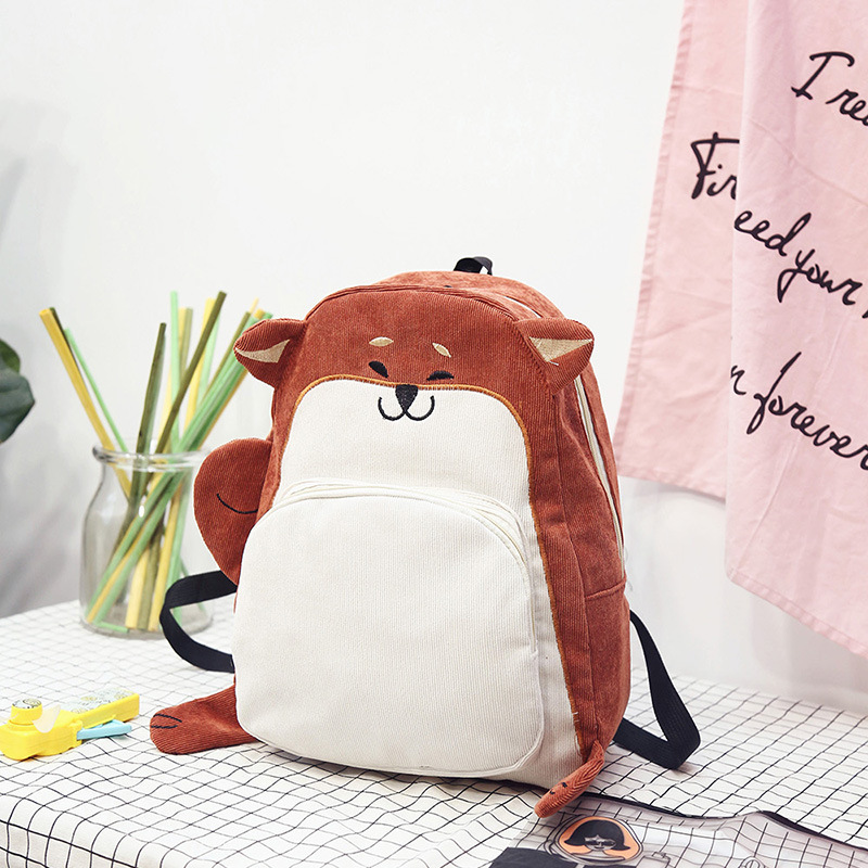 Hot Sale Women Backpack Schoolbag Canvas Cute Fox Backpack Female Vintage Notebook Backpack For Girls School(Orange Red)