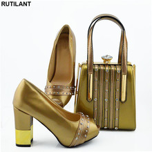 New Italian Designer Shoes and Bags Matching Set African Women Shoes Bags Set  High Heel Women Party Pumps Elegant Crystal Shoes