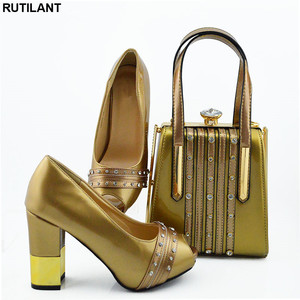 Image 1 - New Italian Designer Shoes and Bags Matching Set African Women Shoes Bags Set  High Heel Women Party Pumps Elegant Crystal Shoes