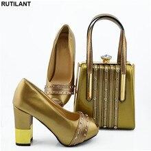 Nouvelles chaussures de créateur italiennes et sacs assortis ensemble femmes africaines chaussures sacs ensemble à talons hauts femmes pompes de fête élégantes chaussures en cristal