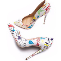 Женские разноцветные туфли-лодочки на высоком каблуке с граффити; модные пикантные туфли на высоком каблуке с острым носком; свадебные туфл...