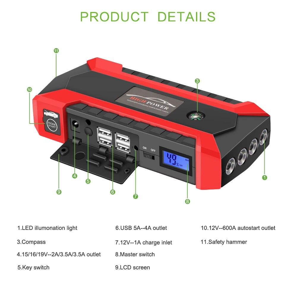 20000mah car jump starter 600a peak portable battery booster with rh aliexpress com