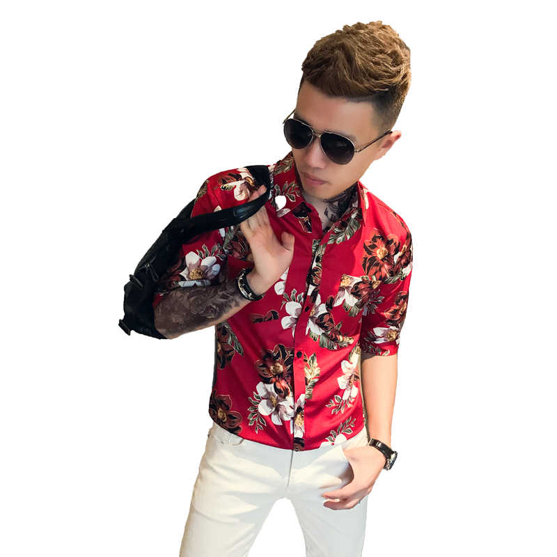 2019 летний корейский Тонкий пятиточечный рукав рубашка с цветами социальных молодой человек Волосы Стильные; для ночного клуба Повседневное рубашка с длинными рукавами