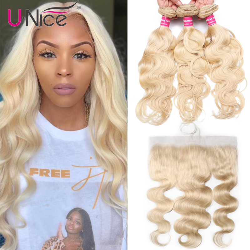 Unice Hair 613 Blonde Bundles With Frontal Brazilian Body Wave With Frontal Remy Human Hair Lace