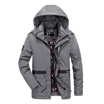 Fashion New Winter Jacket Men Hooded Collar Removable Winter Coat Men Thick Warm Windbreaker Mid-long Mens Outerwear Plus Size