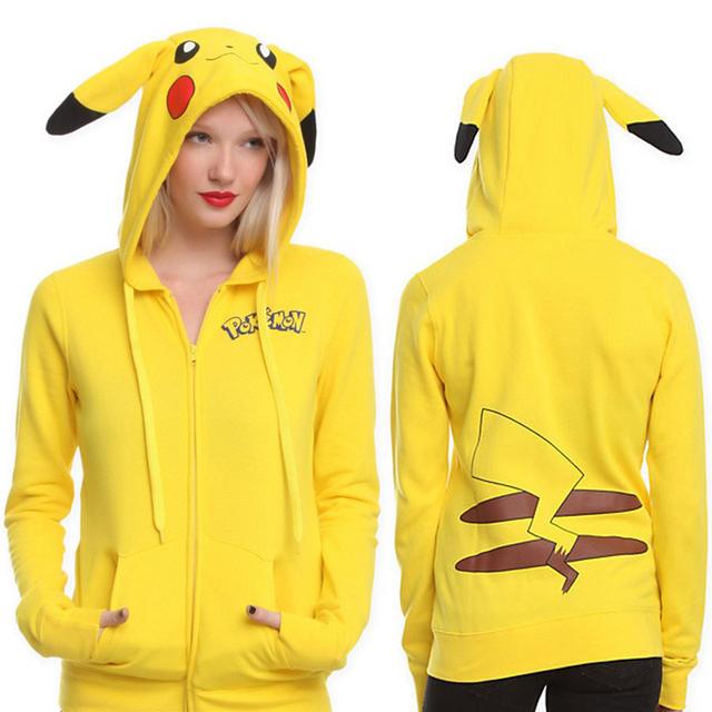 Pokemon Pikachu Print Women Hoodies Sweatshirts 2017 Kawaii Zipper Long Sleeve Hoodies Women Cotton Harajuku Tracksuit **