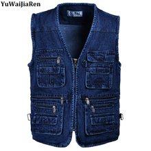 b1d9559ae8b Yuwaijiaren oversize 5xl деним Вязаные Жилеты для женщин Для мужчин хлопок  мульти карман джинсовая куртка жилет мужской бренд Во..