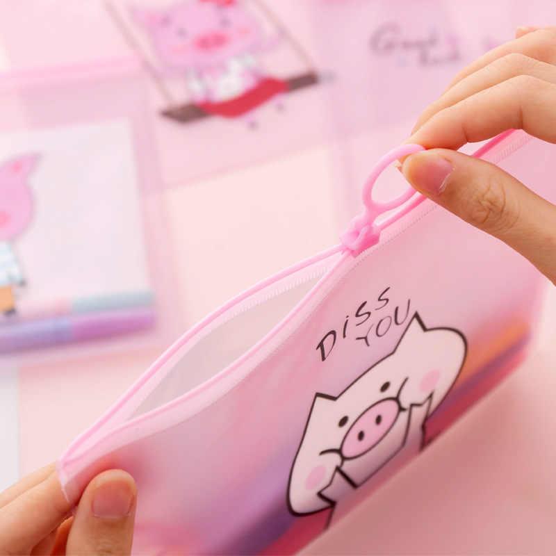 Bonito transparente adorável menina porco documento saco pasta de arquivo anel criativo zíper receber sacos papelaria escritório b028