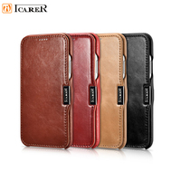 ICARER for iPhone X Xs Vintage Leather Case Luxury Genuine Flip Book Cover for iPhoneX Business case
