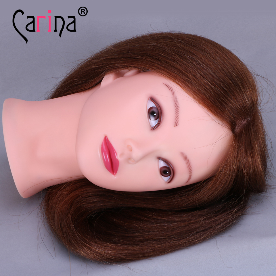 Mannequin Head Hair Brown Training Head Maniqui Hairdressing Doll Heads Hairdresser Manik Wig Head in Mannequins from Home Garden