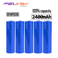 FELYBY 100% Genuine! Preferential 20PCS 2400mAh 3.7v 18650 Battery Lithium Rechargeable Battery with USB Charger