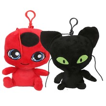 купить 6'' Ladybug Girl Plush Toy Lady Bug&cat Noir Plush Pendant Clip Keychain Soft Stuffed Animals Toys For Kids Children Xmas Gifts дешево