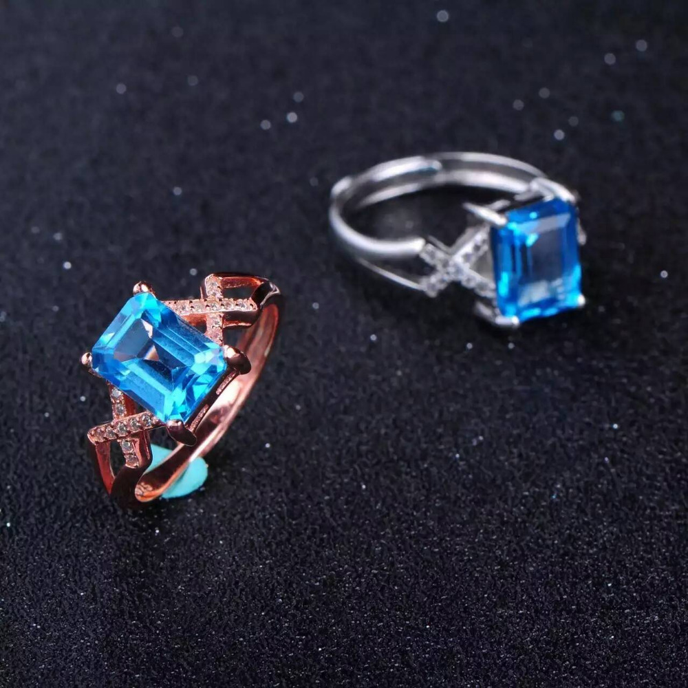 Natural blue topaz Ring Natural gemstone Ring 925 sterling silver trendy luxurious big Heavy Square for