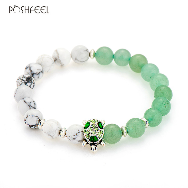 Poshfeel Summer 8Mm Green & White Stone Beaded Bracelets For Women And Men Jewelry Turtle Charm Bracelets & Bangles Mbr170248