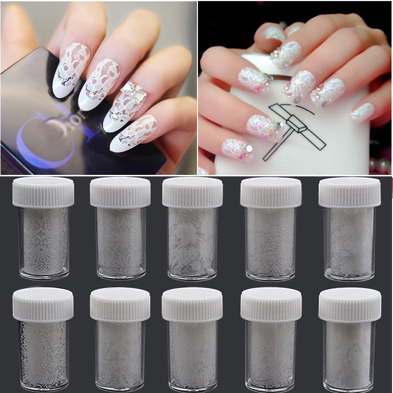 1pcs Nail Art Transfer Foil Sticker Paper White Design Lace Charm Flower DIY Beauty Decoration Polish Manicure Tools cnc aluminum water cooling jacket for 29cc zenoah engine rc boat