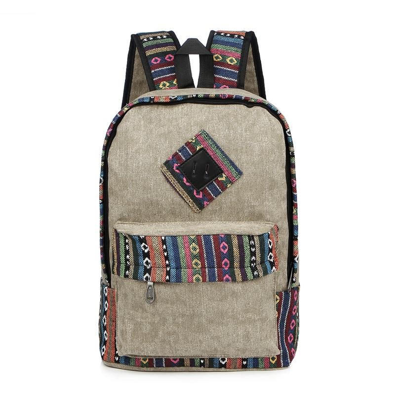 Vintage School Backpack Women Schoolbags For Teenager Girls Canvas Backpacks Student Book Bag National Mochila Bolsas De Saco #2