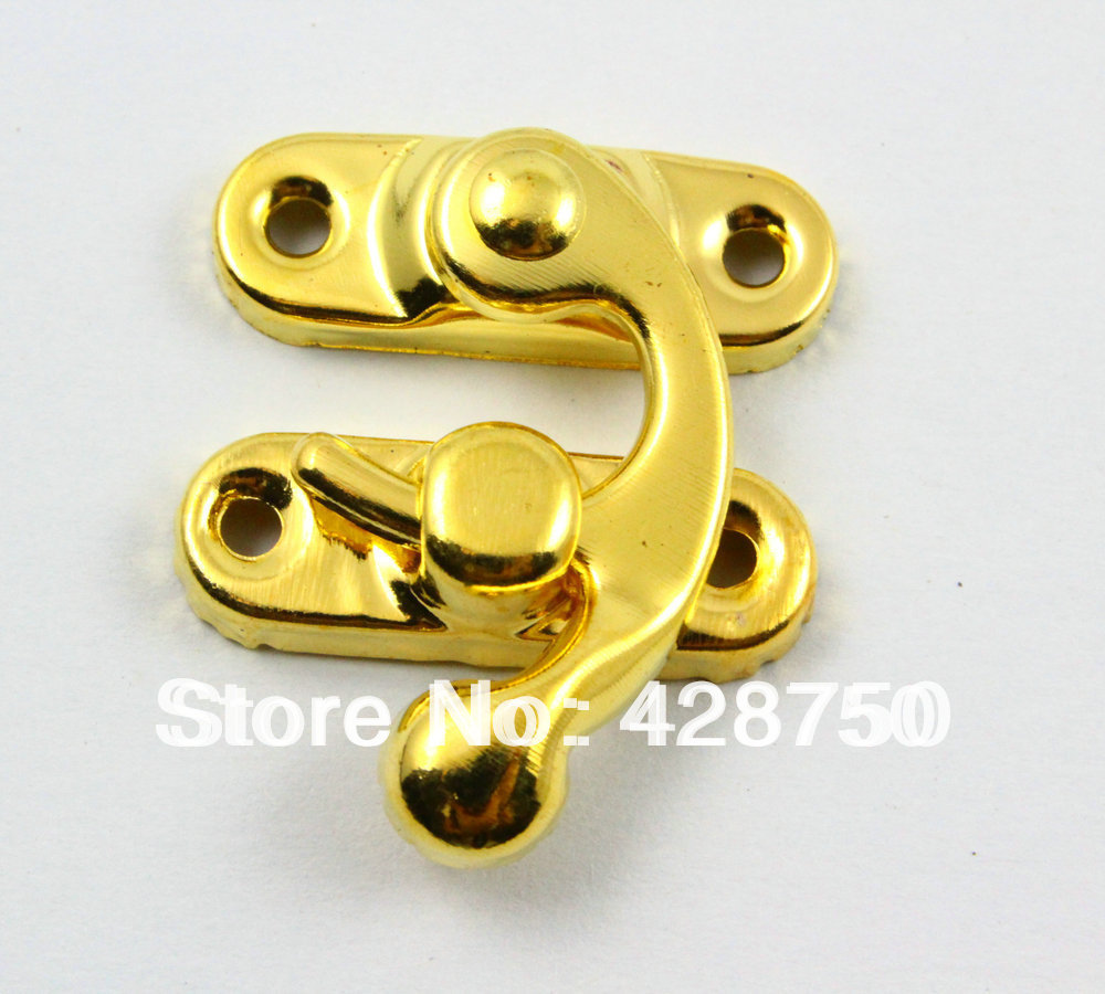 Gold Jewelry Box Hasp Latch Lock 29x33mm with Screwsin Hasps from