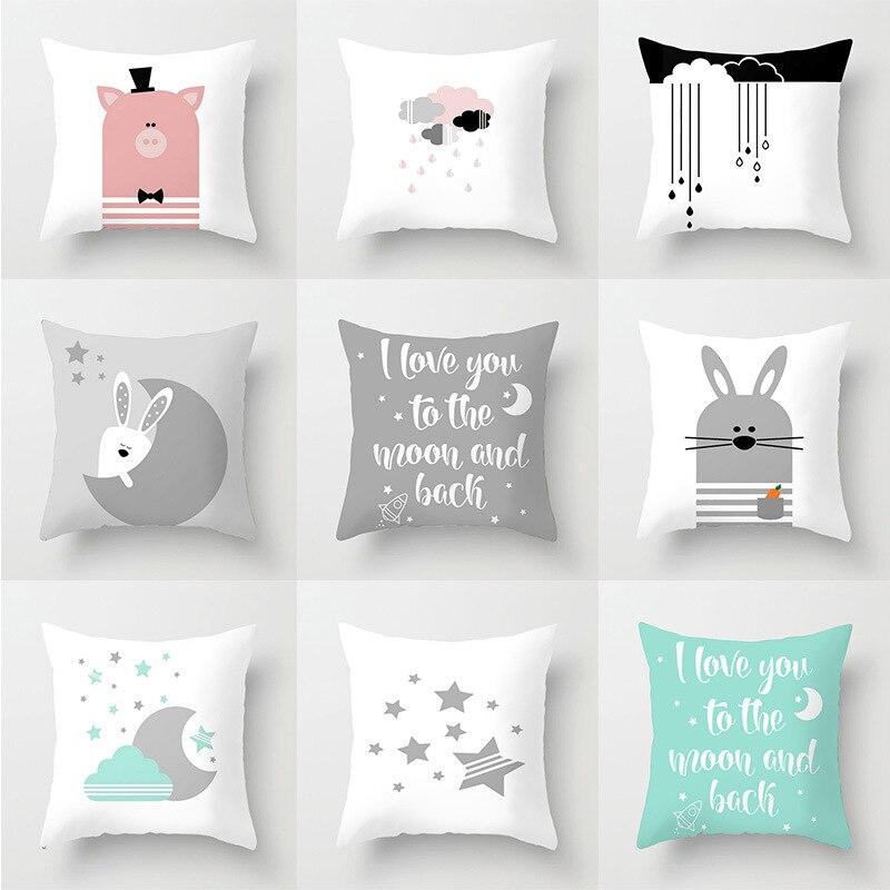 INS Nordic Cushion Cover Cartoon Cloud Moon Star Pattern Polyester Throw Pillow Case Car Sofa Decorative Pillowcases Home Decor