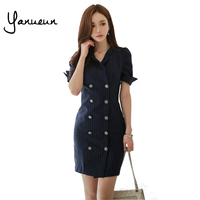 Yanueun Korean Fashion Women Striped Double Breasted Dress Summer 2017 Suit Dresses OL Notched Slim Pencil