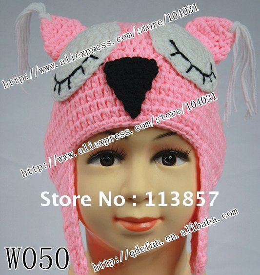 Free shipping (10/lot) 100% cotton Knitted hat animal hat knitting ...