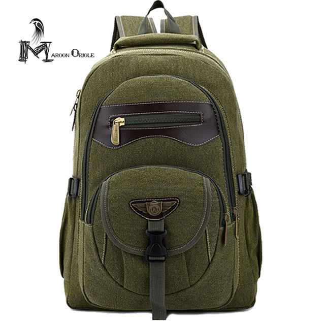 Army Green Canvas Backpack Bag Rucksack Military Leather Book School