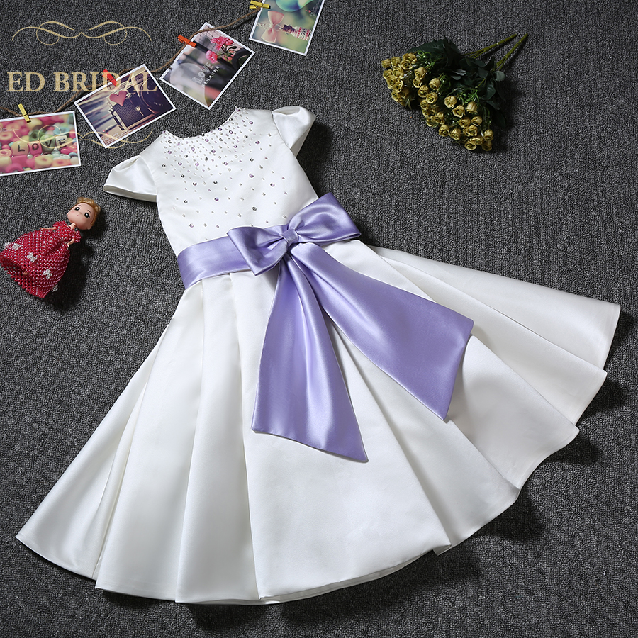Short Sleeves Satin Flower Girl Dresses with Pearls and Rhinestones ...