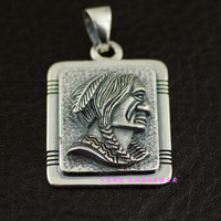 925 Sterling Silver Indian head man import Silver Pendant