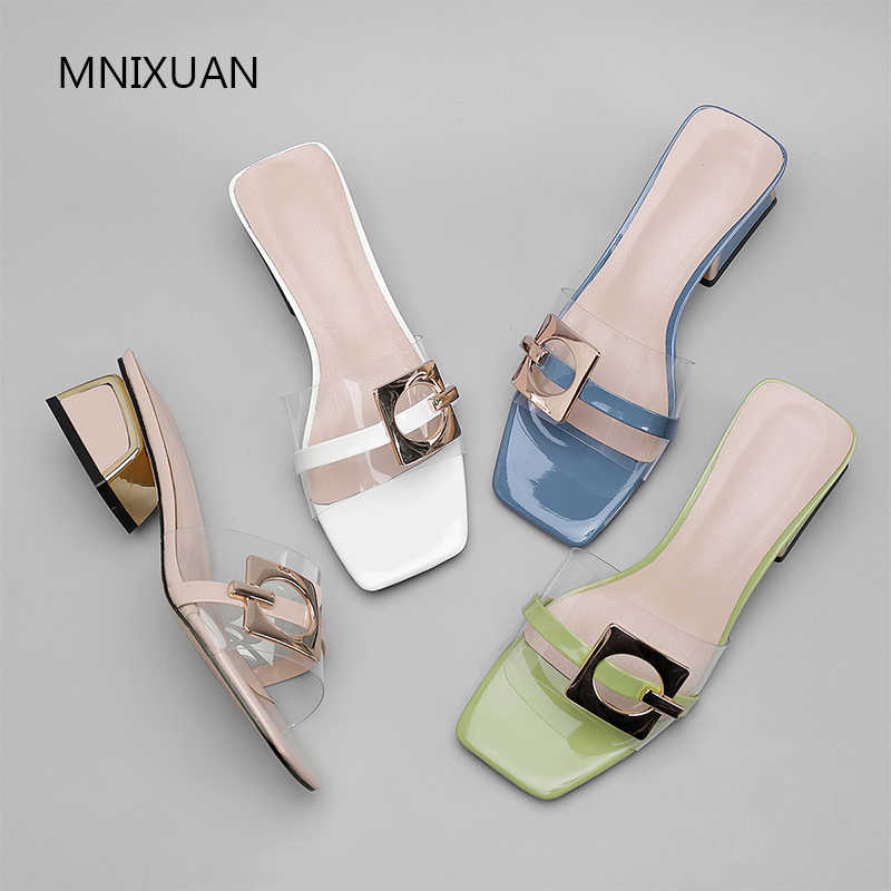 MNIXUAN แฟชั่นฤดูร้อนสิทธิบัตรหนังรองเท้าสำหรับรองเท้าผู้หญิงรองเท้าแตะรองเท้าส้นสูงกลาง 2019 ใหม่โปร่งใส Pvc สีดำสไลด์สีฟ้า