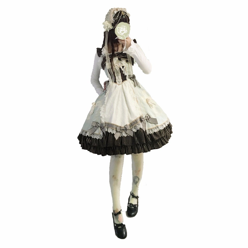 New JSK Lolita Dress Medcine Chest Princess Cross Cute Bow Lace Retro Vintage Princess Dresses Hairband Daily Cosplay Costumes