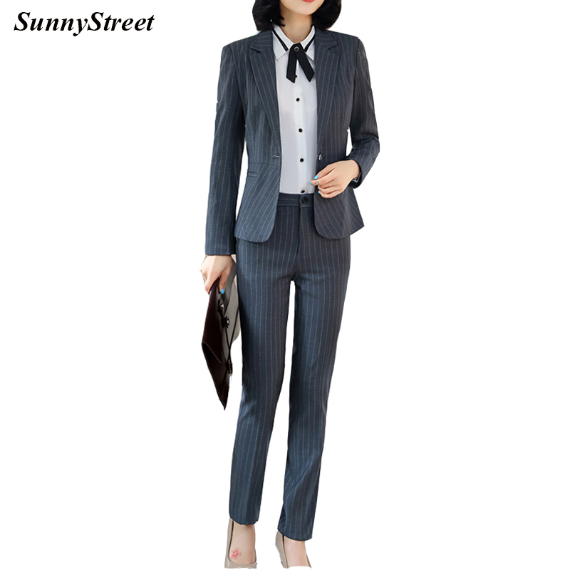 Ladies Suit Long Sleeve Stripe fabric Blazer and Pant 2 pieces Set Career formal Wear for Office Women Fashion Wear Navy Grey