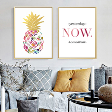 Gold Colorful Pineapple Today Quotes Canvas Paintings Modern Wall Art Nordic Posters Pictures For Office Living Room Home Decor