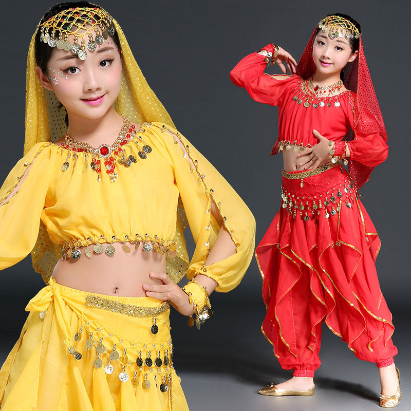Belly Dance Indian Costume Children Set 5 piece Top Belt Pants Headpiece and Sleeves Bollywood Dance Girls Costumes in Belly Dancing from Novelty Special Use