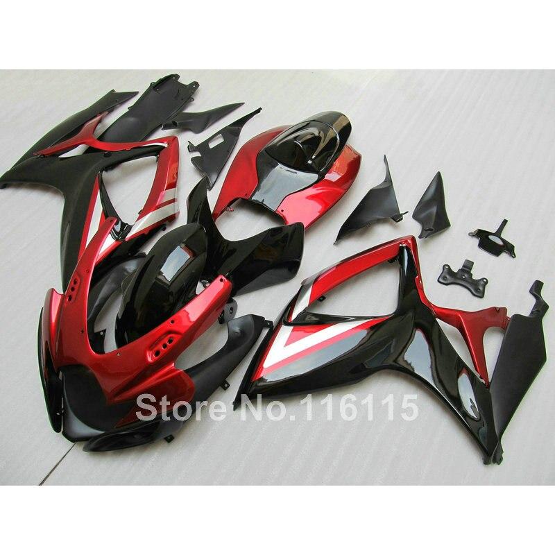 100% новый обтекатель комплект для Suzuki литья под давлением GSXR 600 750 К6 К7 2006 2007 красный черный обтекатели GSXR600 GSXR750 06 07 NG35