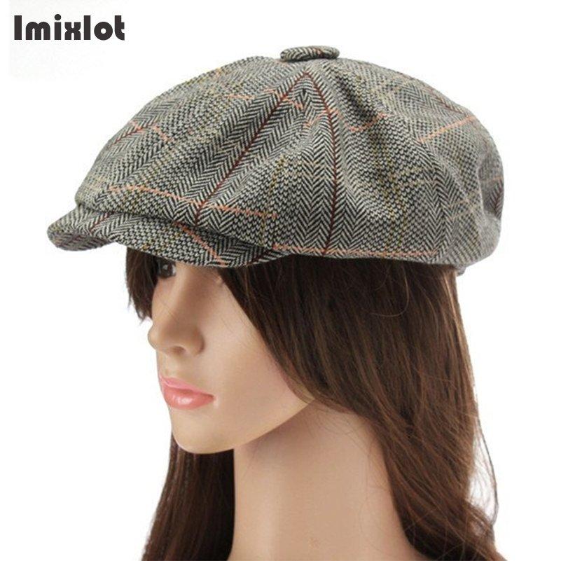 Imixlot 2 Color Korea Herringbone Newsboy Cap Men Women Cotton Hat Golf Driving Flat Cabbie Flat Unisex Berets Hat