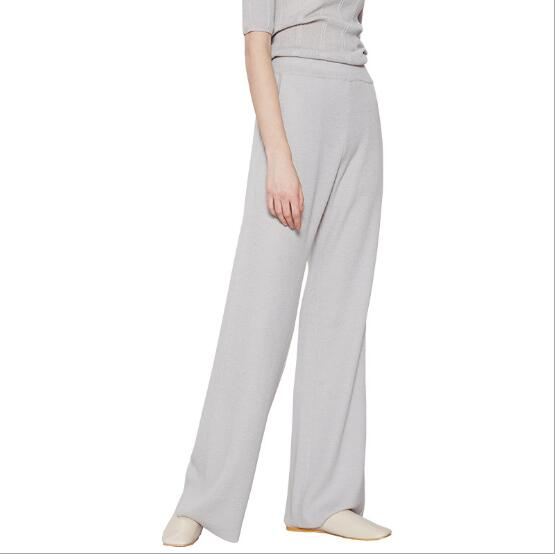 2018 New Fashion Women full pant Wide leg pants elegant loose casual business office ladies Wool Trousers with Pocket Grey color