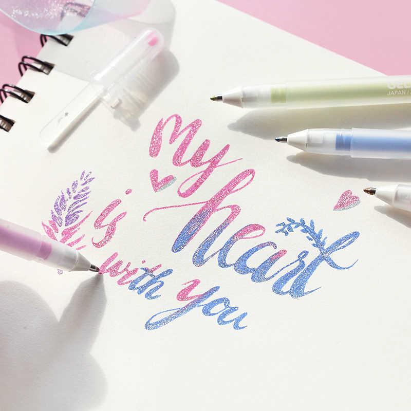 Sakura 0.6mm glitter colorido gel caneta gelly rolo stardust caneta marcadores para scrapbooking diy estacionário