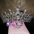 Свадебный свадьбы тиару и короны волосы аксессуары кристалл горного хрусталя королева театрализованное пром тиара волосы кусок орнамент