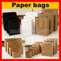 (100PCS/lot) 10 SIZE available wholesale high quality shopping paper bag white black brown