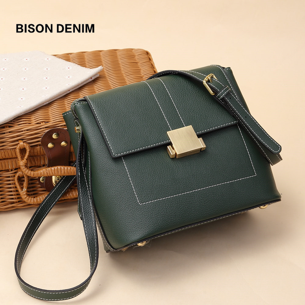 BISON DENIM Brand Women bags Genuine Leather Shoulder Bag Female for women 2018 Luxury Crossbody Bag bolsa feminina N1560 bison denim brand women bags genuine leather shoulder bag female for women 2018 luxury crossbody bag bolsa feminina n1560