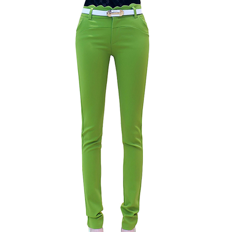 ee72680a7d5f89 Women Trousers 2018 Autumn High Waist Ruffles Ladies Casual Bodycon Pencil Pants  Elastic Female Belted Pants