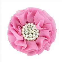Lovely Girls Mini Chiffon Flowers with Pearl Rhinestone Center Hair Clips Lace Flower for Hair Accessories hair care center