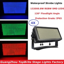 4 Units LED Dj Strobe Lights High Power 1000W RGBW Colors Flash DMX Outdoor Disco Club