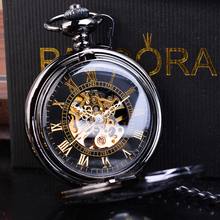 лучшая цена Retro Black Steampunk Skeleton Hand Wind Mechanical Pocket Watch Roman Men Antique Luxury Fob Watches Long Chain Clip Male Clock